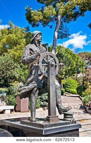 Statue of Prince Albert 1st in Saint Martin Park in Monte Carlo, Monaco.