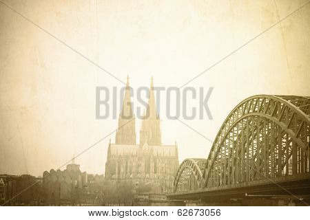 Vintage Gothic Cathedral in Cologne, Germany