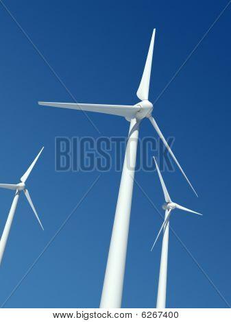 Wind Turbines Over Blue Sky