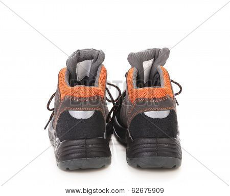 Black Man's Boots With Orange Inset.