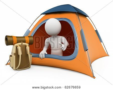 3D White People. Camping Tent
