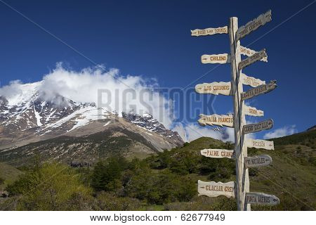 Sign Showing The Directions And Hiking Trails.