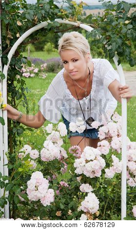 Beautiful Blonde In The Garden