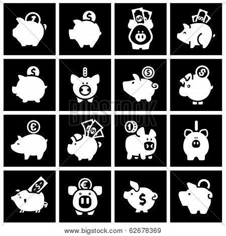 Piggy bank, set white icons on black squares