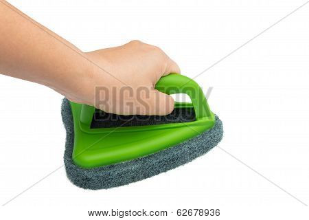 Hand Holding And Cleaning With Brush Scrubber Isolated White Background