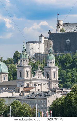 Salzburg Cathedral Seen From Salzach River, Austria