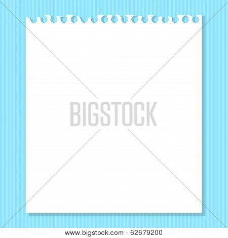 White Piece Of Paper On A Blue