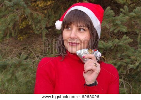Woman wearing a Santa's hat