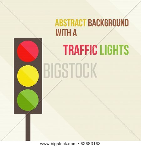 abstract background with a traffic lights in a flat style
