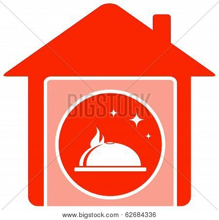 home Food Symbol With House And Dish