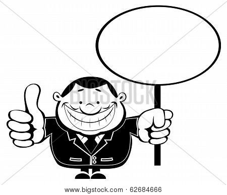 Retro businessman with Blank sign