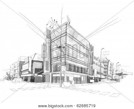 Vector City Street Sketching