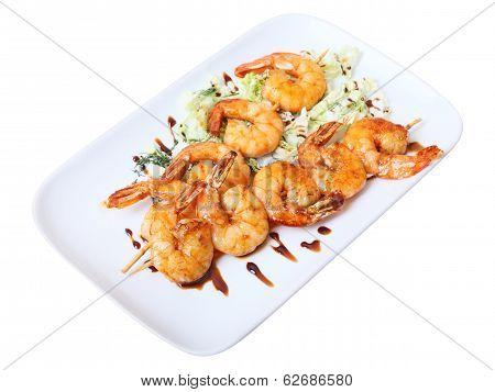 Skewers Of Shrimps