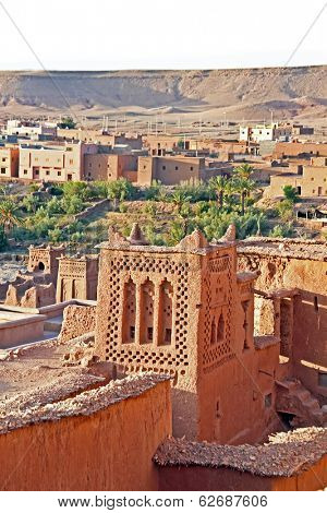 The fortified town of Ait ben Haddou near Ouarzazate Morocco on the edge of the sahara desert in Morocco. Famous for its use as a set in many films such as Lawrence of Arabia, Gladiator