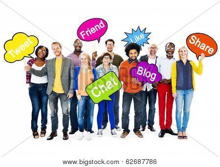 Group Of Multi-Ethnic People Holding Speech Bubbles With Words