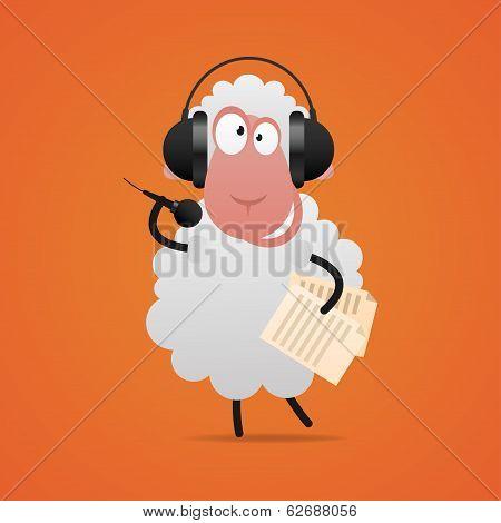Cheerful sheep in headphones singing in microphone