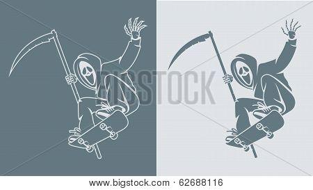 Scytheman makes jump on skateboard