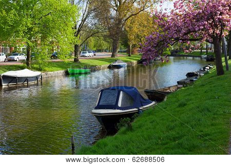 canal in old town of Haarlem, Holland