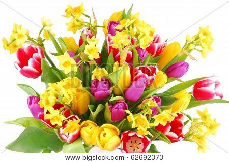 bouquet of tulip and daffodils flowers