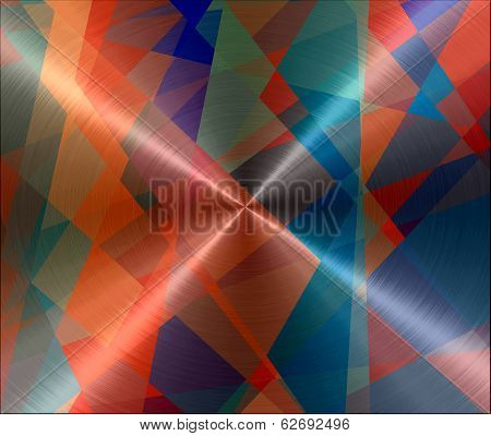 Geometric Cubism Metallic Stainless Steel Metal Background