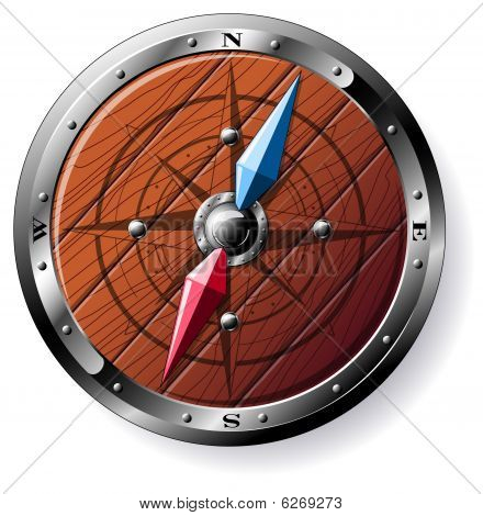 Detailed Wooden Compass - Isolated On White