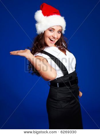 Businesswoman Wearing A Santa's Hat