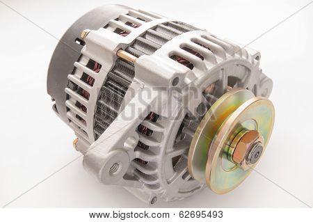 automobile alternator isolated on white backgroun