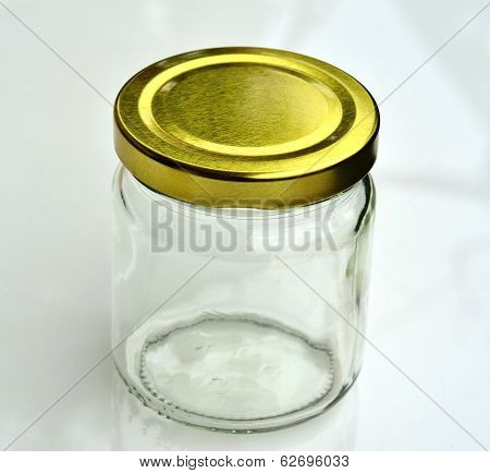 Empty Glass Tube, Bottle With Gold Cap, Capsule Glass Bottle On White Background