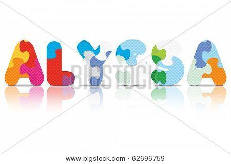 ALYSSA written with alphabet puzzle - vector illustration