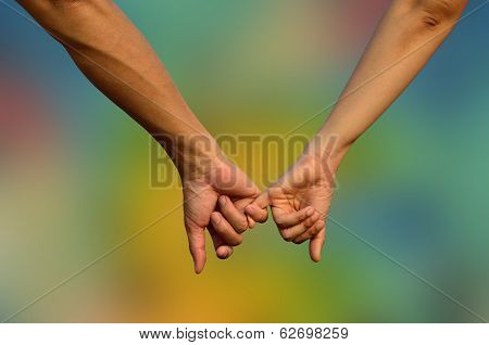 Hands In Hands With Romantic Together On Colorful Blue Background