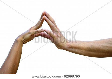 Lady And Gentleman Hands In Hands On Isolated White Background, Handshaking