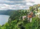 image of apostolic  - View of Castel Gandolfo and Albano Lake  - JPG