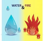 water and fire icons eps10