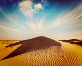 picture of dune  - Vintage retro hipster style travel image of dunes of Thar Desert - JPG