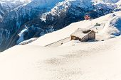Hotel In Ski Resort Bad Gastein In Winter Snowy Mountains, Austria, Land Salzburg,  Austrian Alps -