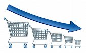 image of going out business sale  - Sales decline symbol as a group of shrinking shopping carts with a blue arrow going down as a metaphor for commercial retail consumerism on a white background - JPG