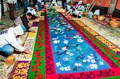 Making A Holy Week Processional Carpet, Antigua, Guatemala