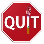 picture of octagon  - A red and white octagonal Quit smoking e cigarettes sign isolated on white - JPG