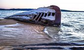 image of shipwreck  - Shipwreck along the shores of the treacherous Lake Superior - JPG