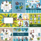 image of animated cartoon  - cartoon robot card - JPG