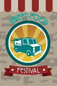 stock photo of food truck  - A vector illustration of street food festival pamphlet design - JPG