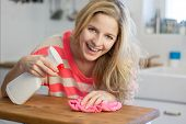 stock photo of stereotype  - Funny housewife with cleaning spray - JPG