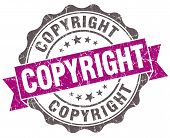 Copyright Violet Grunge Retro Style Isolated Seal