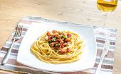 foto of carbonara  - Pasta Carbonara with bacon and ground parmesan - JPG