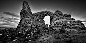 foto of turret arch  - Black and white image of Turret Arch in Arches National Park UT - JPG