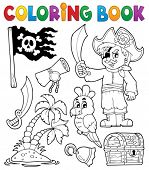 stock photo of buccaneer  - Coloring book pirate thematics 1  - JPG