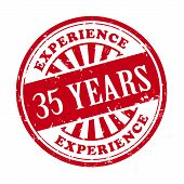 35 Years Experience Grunge Rubber Stamp