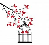stock photo of caged  - vector illustration of a cage with a bird in the tree with red leaves - JPG