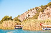 stock photo of dalyan  - Turkish Lycian tombs on the Dalyan River - JPG