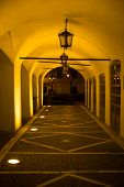 foto of sibiu  - Illuminated Arcades of a medieval building - JPG